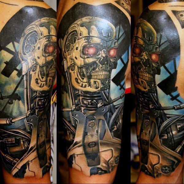 Guys Terminator Cyborg Half Sleeve Tattoo Ideas