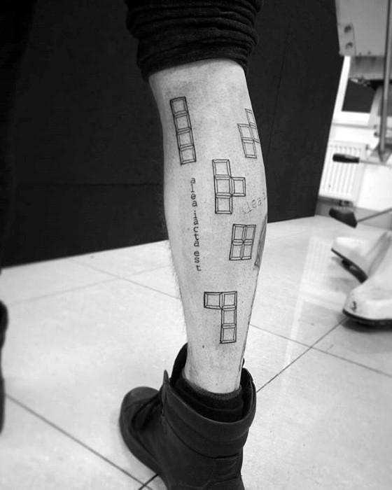 Guys Tetris Tattoo Designs On Leg