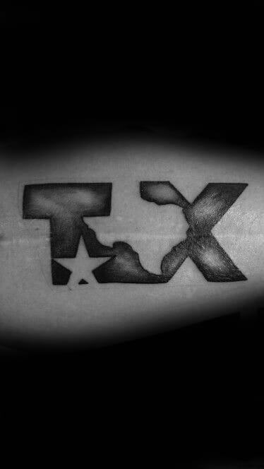Guys Texas Negative Space State And Star Arm Bicep Tattoo