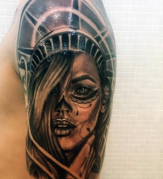 70 statue of liberty tattoo designs for men new york city for Tattoos meaning freedom
