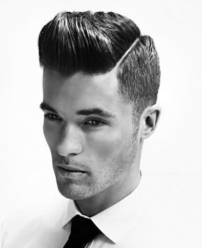 Medium Straight Hairstyles For Guys : 40 hard part haircuts for men sharp straight line style