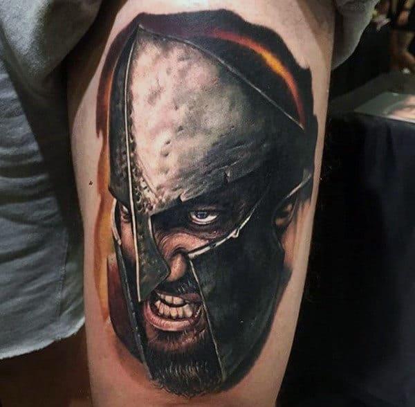 Guys Thigh 3d Warrior And Shiny Mettalic Helmet Tattoos
