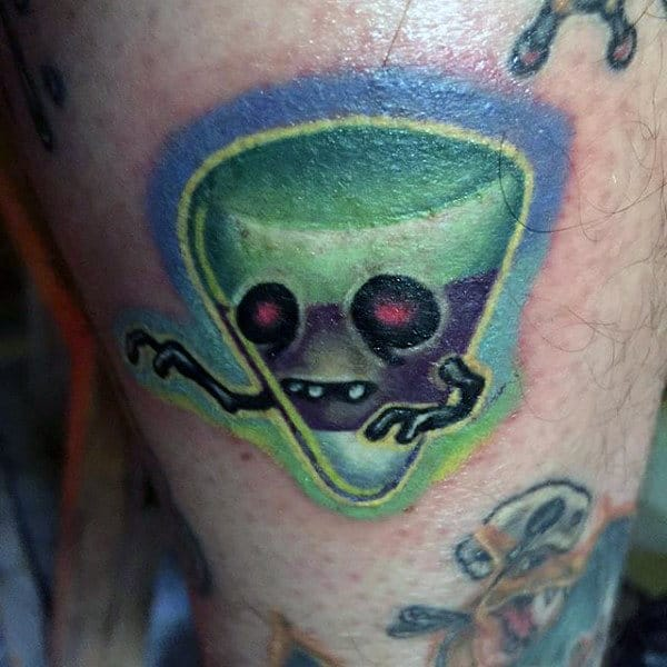 Guys Thigh Cute Green Halloween Tattoo