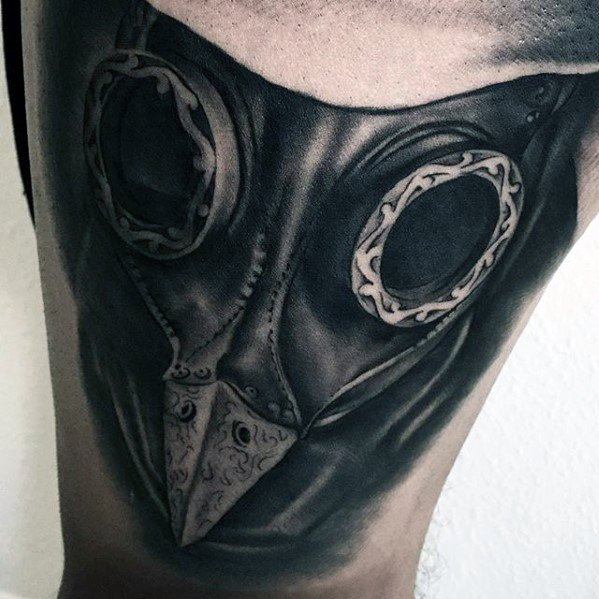 Guys Thigh Plague Doctor Mask Tattoo Deisgns