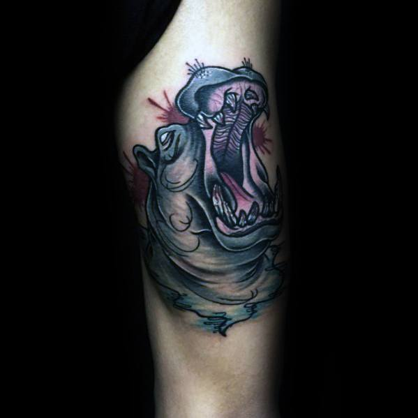Guys Thigh Roaring Hippo Tattoo Design Ideas