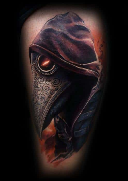Guys Thigh Tattoo Ideas Plague Doctor Designs
