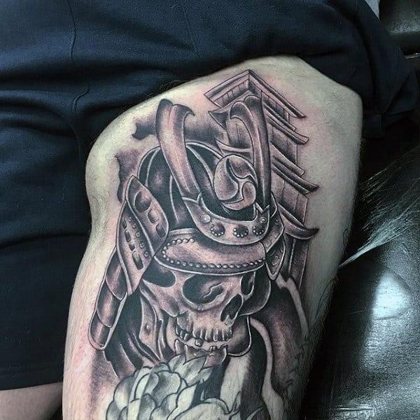 Guys Thigh Tattoo Of Skull Samurai Helmet