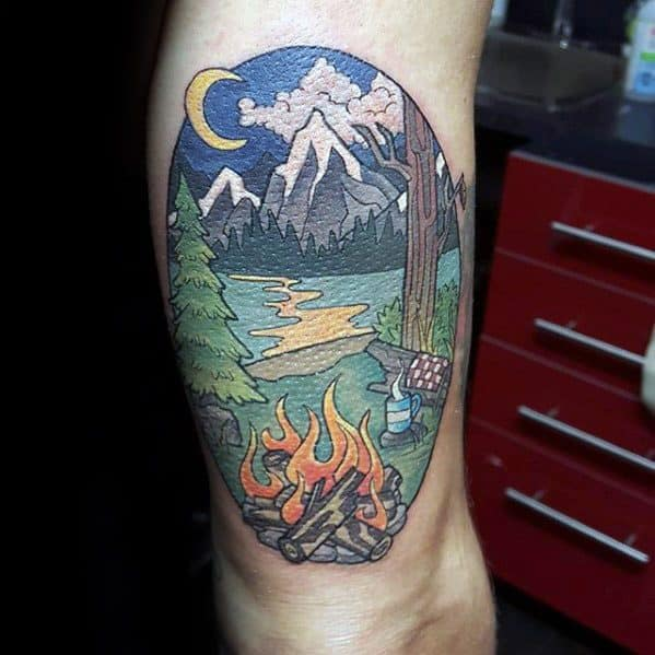 Guys Thigh Tattoos With Camping Design