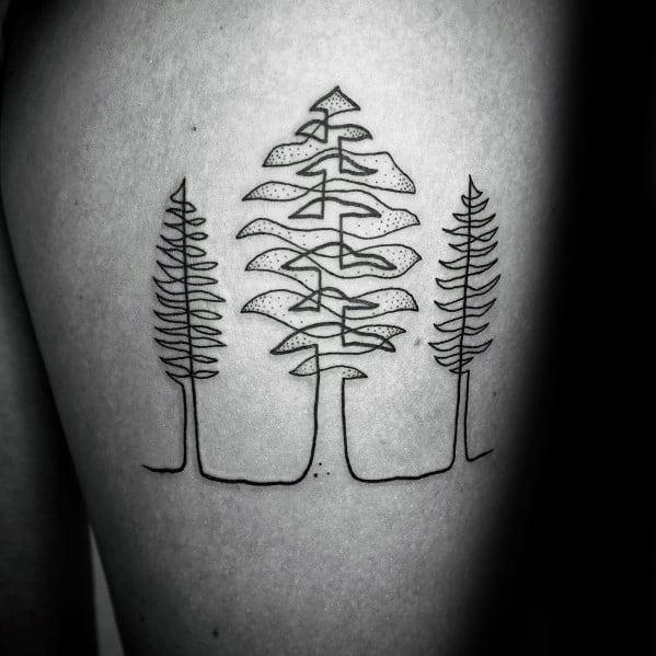 Guys Thigh Tree Outline Tattoos