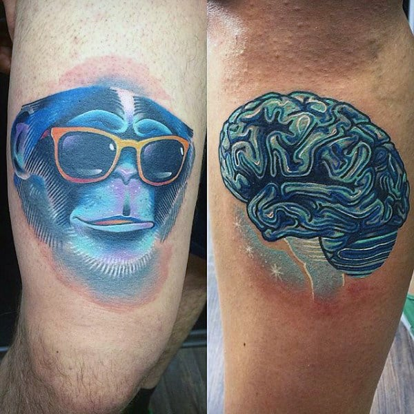 Guys Thighs Cool Monkey And Brain Tattoo