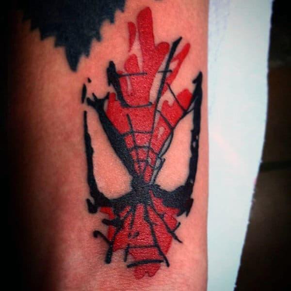 Guys Thighs Spiderman Tattoo