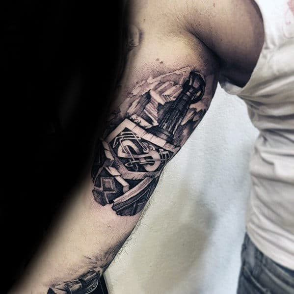 Guys Thor Hammer 3d Arm Tattoo