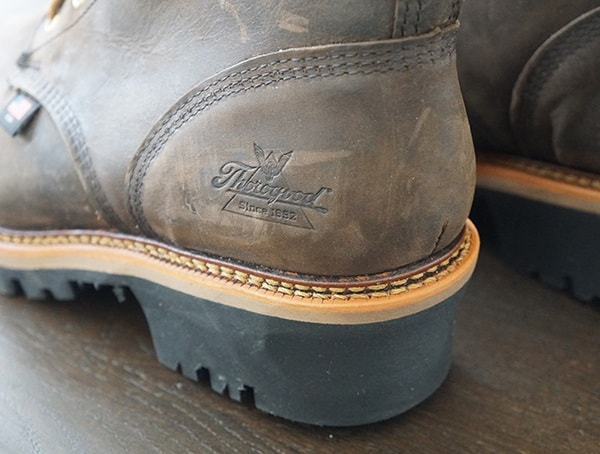 Guys Thorogood Logger Series 9 Inch Brown Crazyhorse Waterproof Work Boots Heel Detail