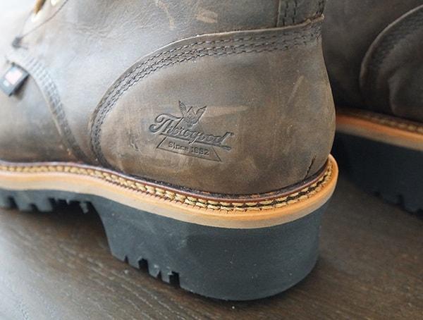 Guys Thorogood Logger Series 9 Inch Brown Crazyhorse Waterproof Work Boots Heel Detail