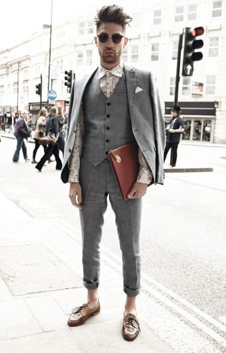 Guys Three Piece Charcoal Grey Suit Brown Shoes Fashion Ideas
