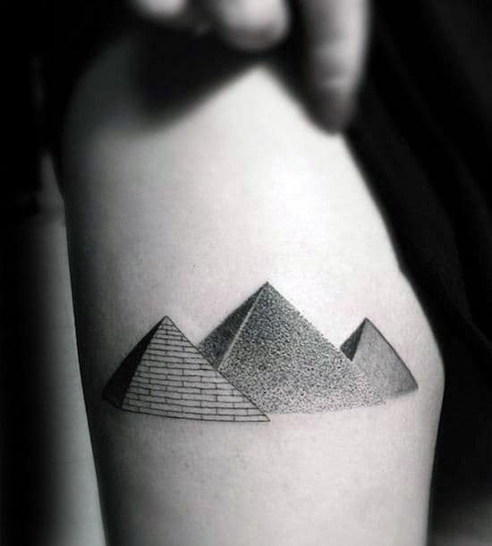 Guys Three Pyramid Detailed Dotwork Tattoo On Thigh