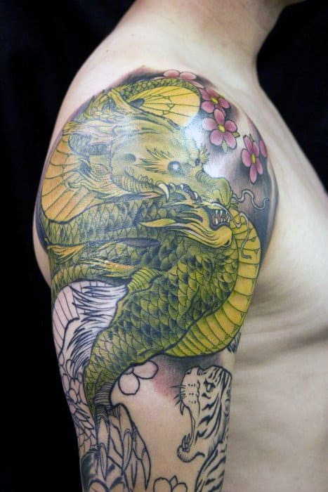 Guys Tiger Dragon Tattoos Half Sleeve
