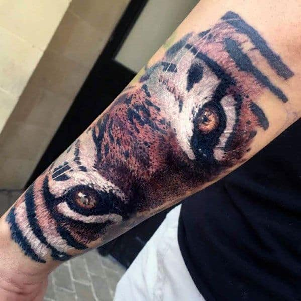 Guys Tiger Eyes Tattoo Designs On Outer Forearm