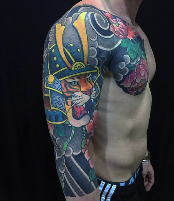 60 samurai helmet tattoo designs for men japanese ink ideas. Black Bedroom Furniture Sets. Home Design Ideas