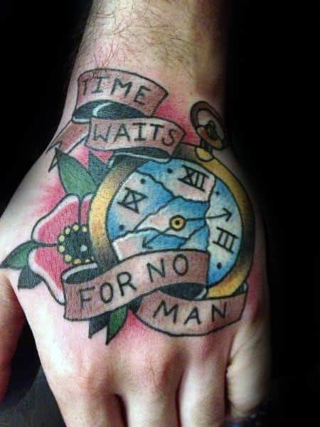 Guys Time Waits For No Man Tattoo Designs