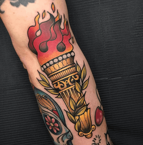 Guys Torch Tattoo Design Idea Inspiration
