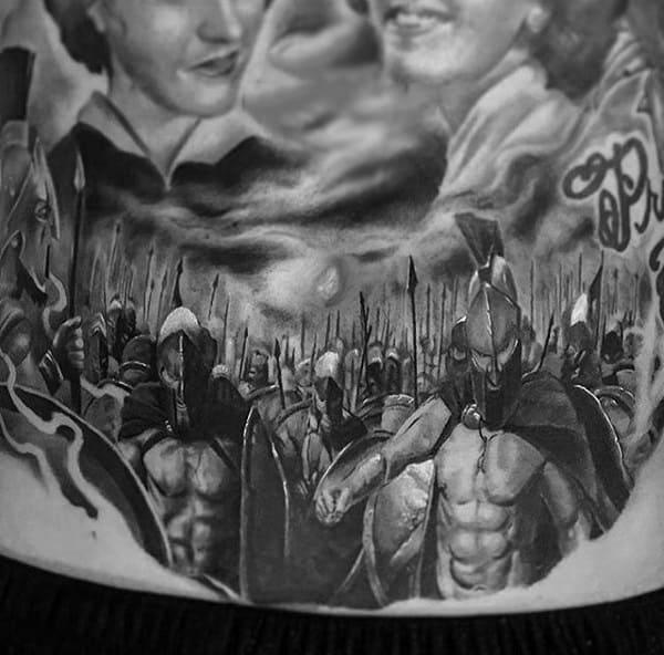 Guys Torso Warriors In Battle Tattoo