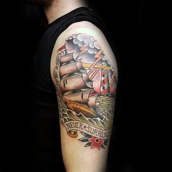 Guys Traditional Arm Tattoos With Thunderstorm And Sailing Ship Design