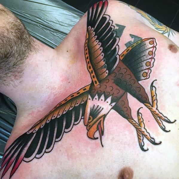Guys Traditional Bird Eagle Tattoo On Upper Chest