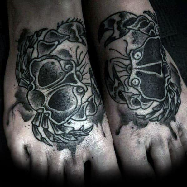 Guys Traditional Black Ink Old School Crab Tattoos On Feet