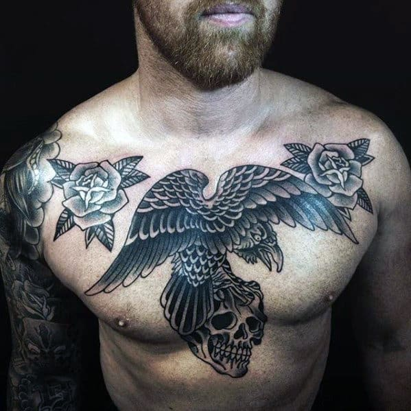 Guys Traditional Crow Flying With Skull Mens Old School Chest Tattoos