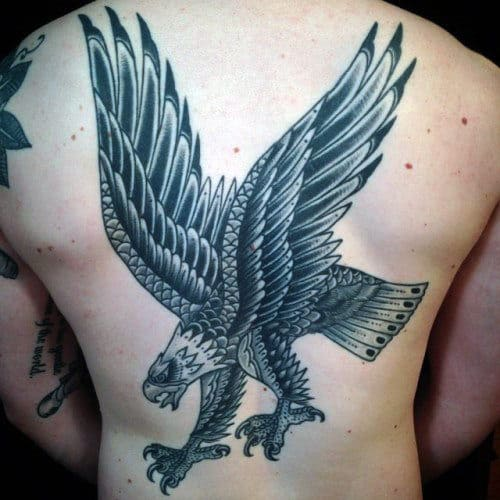 Guys Traditional Eagle Old School Back Tattoo Inspiration