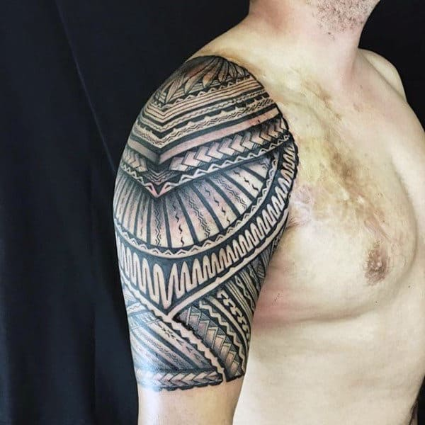 Guys Traditional Half Sleeve Tribal Polynesian Tattoos
