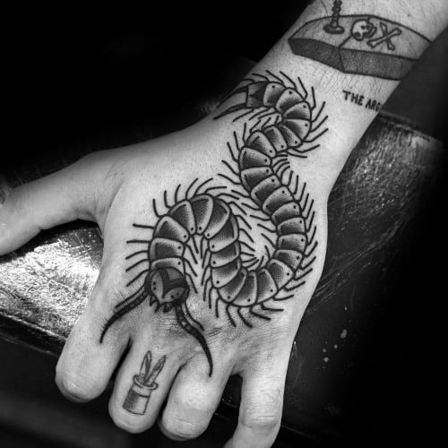 Guys Traditional Hand Tattoos With Centipede Design