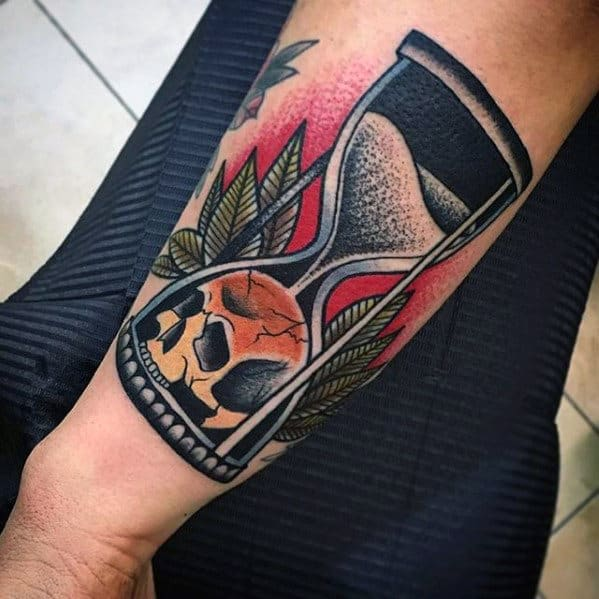 Guys Traditional Hourglass Skull Outer Forearm Old School Tattoo