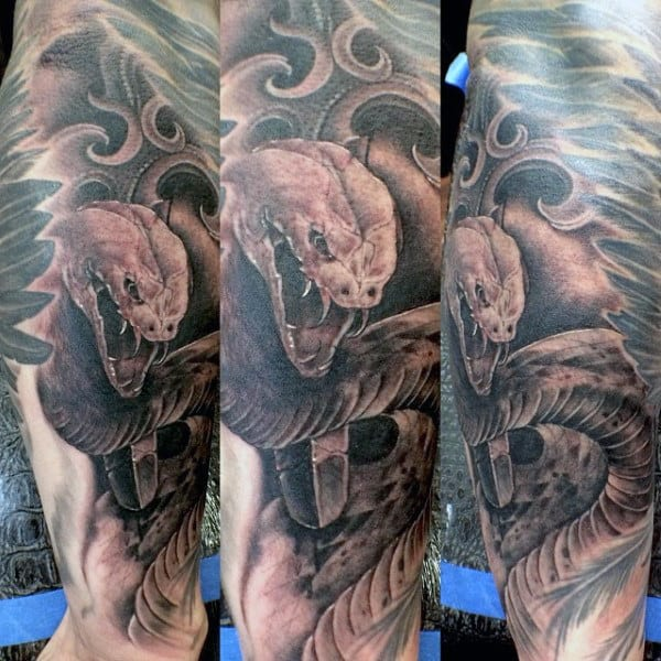 Guy's Traditional Japanese Snake Tattoo