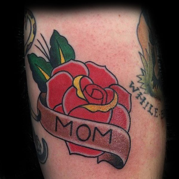 Guys Traditional Mom Banner Rose Flower Arm Tattoo Design Ideas