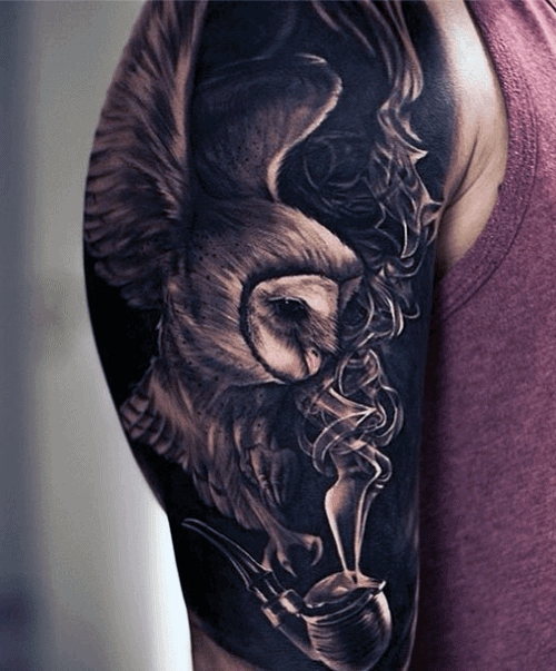 Guy's Traditional Owl Tattoos