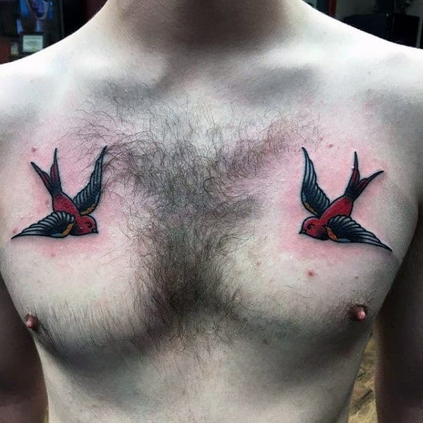 c565972758f85 Guys Traditional Red And Black Ink Swallow Tattoo Designs On Upper Chest
