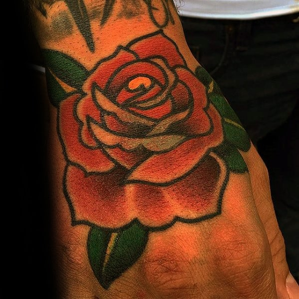 Guys Traditional Rose Flower Tattoo Design On Hand