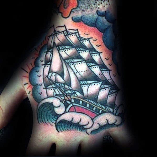Guys Traditional Sailing Ship Tattoo Design On Hand