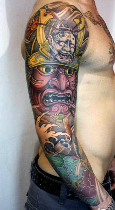 Guys Traditional Samurai Mask With Demon Head Tattoo Full Sleeve