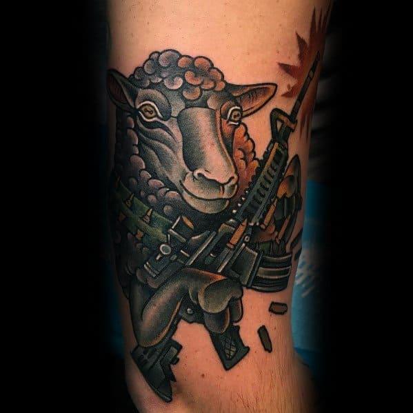 Guys Traditional Sheep Designs Ar 15 Tattoos