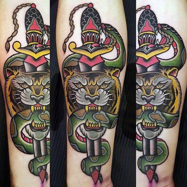 Guys Traditional Tiger Dagger And Snake Inner Forearm Tattoos