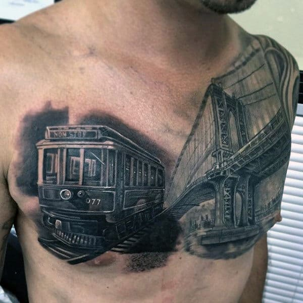 Guys Train Car With Bridge Badass Chest Tattoos