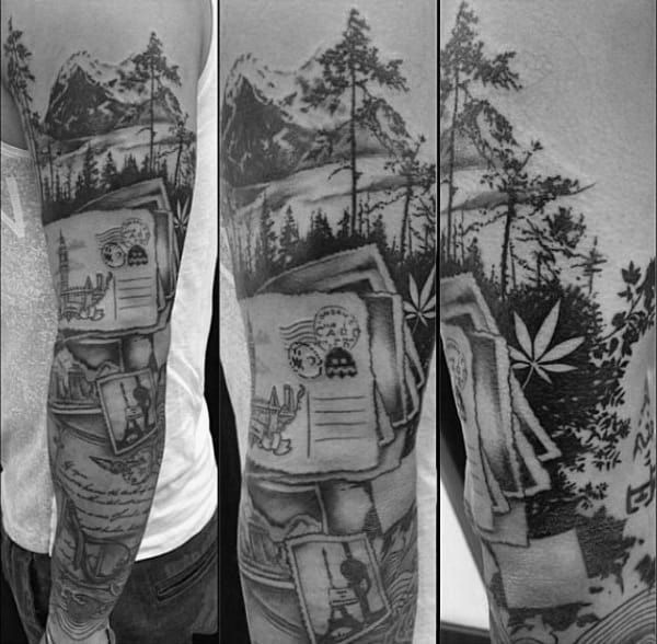 Guys Travel Sleeve Tattoo With Mountain And Postcards