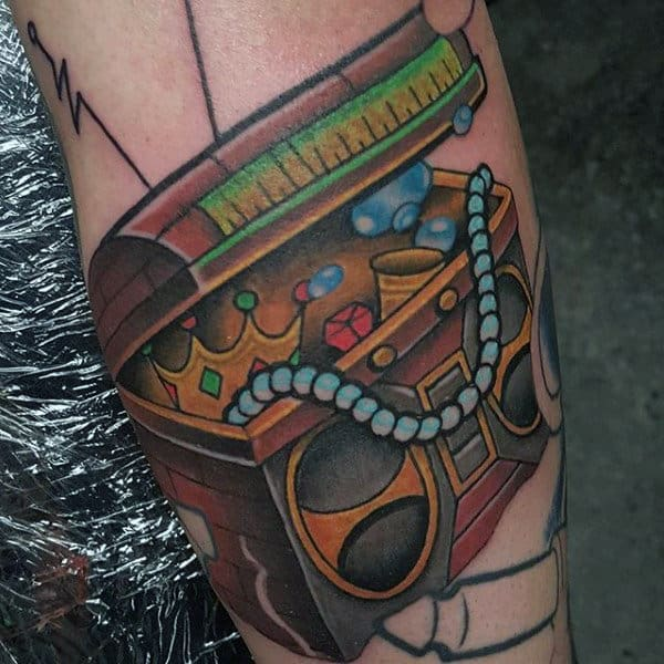 Guys Treasure Chest Boombox Forearm Tattoo