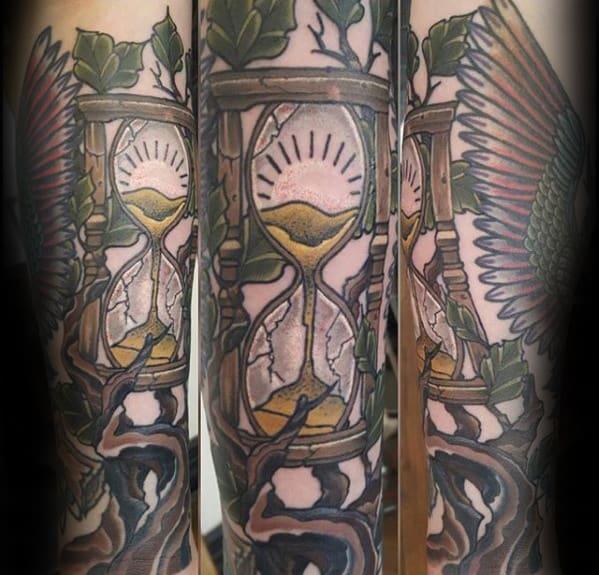 Guys Tree Branch Broken Hourglass Forearm Tattoo