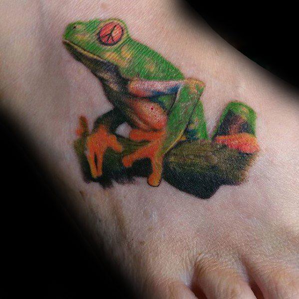 Guys Tree Frog Tattoo Deisgns 3d Foot