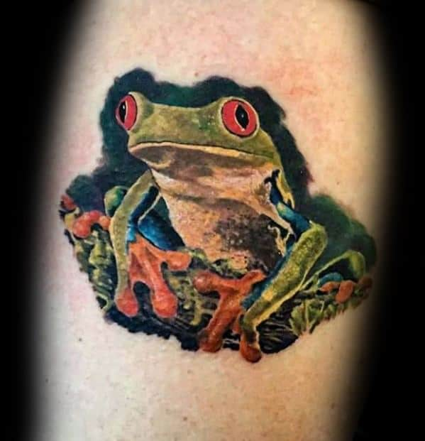 Guys Tree Frog Tattoo Design Ideas 3d Upper Arm