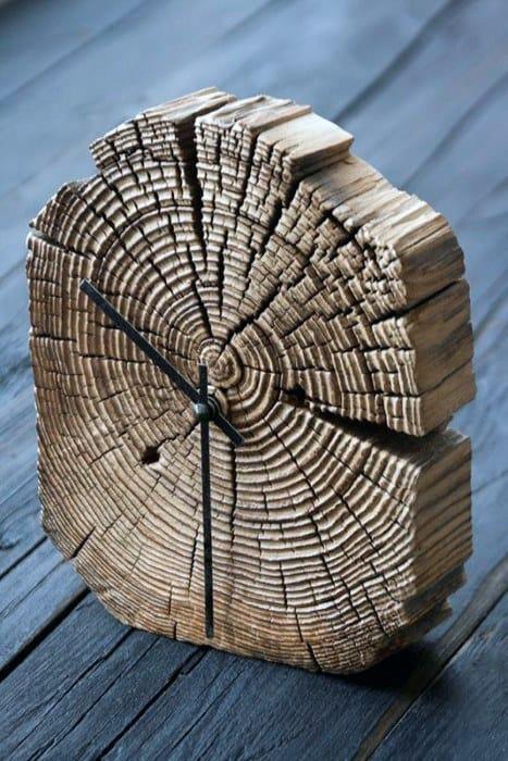 Guys Tree Strump Clock Bachelor Pad Decor